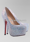 JF Silver Strass Sheepskin Leather Platform bridal shoes