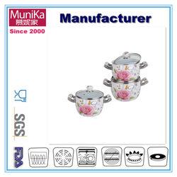 Munika Non-stick Pink Porcelain cookware manufacturer/hot pot cookware 6 pieces porcelain enamel cookware manufacture direct