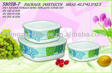 3Pcs melamine storage bowl w/plastic cover set
