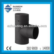 CE indoor single wall carton steel wood chimney 90 degree tee