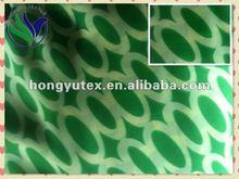 Green circle ring printed polyester chiffon for lady's dress