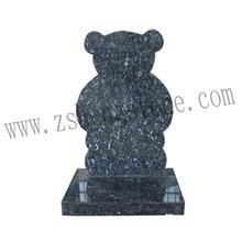 Azul perla en forma de oso lápidas monumento, piedra sepulcral