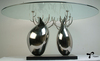 &quot;Double-Tree&quot; Modern Art Glass Dining Table For Home Decoration