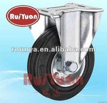 European type black rubber fixed industrial caster wheels
