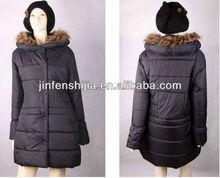 Black shiny women long jacket/coat with fake fur hood