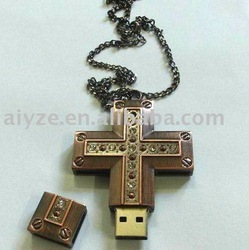 Gold& jewelry cross usb drive,Hot usb flash disk, USB memory