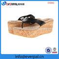 Corcho- como plataforma de la cuña sandalia de tacón zapatos metálico con correa de cuero
