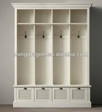 Antique vintage teak solid wooden bedroom white sliding wall wardrobe cabinet
