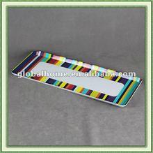 Melamine rectangle Tray striped design