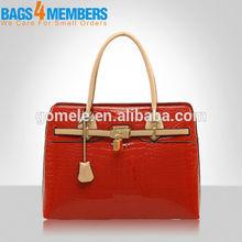 2015 New design pu leather handbag patent red ladies pu tote bag factory direct price