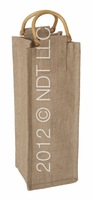 Natural Jute Wine Bag with Cane Handle WATERPROOF INSIDE