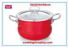 red enamel sauce pot set/cast iron cookware sets/ induction bottom carbon steel cooking pot non stick red cookware set