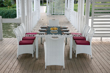 Family 8person Simple Rattan Dining Set White