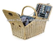 4 person picnic wicker wine basket