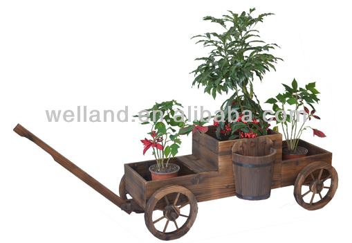 Carreta de madera plantadores jard n jardineras for Carros de madera para jardin