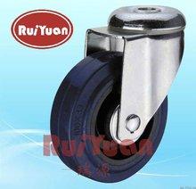 28xxxBLD Medium duty elastic rubber bolt hole swivel uses requiring good mobility rubber ball caster