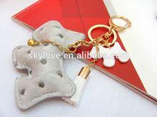 High end leather animal dog keychain keyring