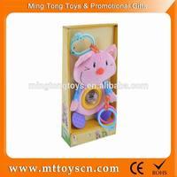 Hanging cartoon plush soft infant baby toy rattle socks