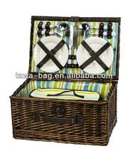 4 person picnic wicker hamper shopping basket