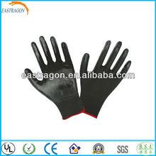 Black Nitrile Coating Working Gloves Nylon Lined CE