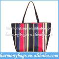 Reutilizables moda arco iris raya de la impresión indio de compras bolso de mano/bolso de la manija