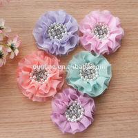 pastel color chiffon flower,pearl rhinestone flower for garment,christmas decoration flower