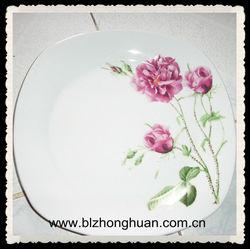 square flower printed porcelain plates serving dishes
