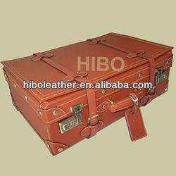 HIBO Genuine Leather Vintage Travel luggage
