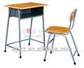 de alta calidad al por mayor de la escuela de mesa de escritorio y una silla con bandeja de metal para la educación de los estudiantes