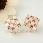 2014women fashion jewelry square shape newest charm light brown crystal stud earrings