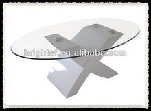 Modern cheap MDF high gloss + tempered glass hall room coffee table #QJ-006