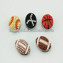Fashion rhinestone football slide charms for bracelet-JP08-360