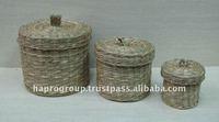 Vietnam handmade round Seagrass gift Box with lid