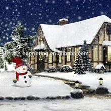 snow man christmas led canvas wall art