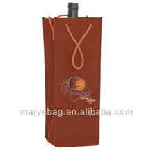 Non Woven Single Bottle Wine Tote Bag W/ Rope Handles