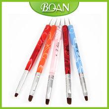 5 Pcs Colorful Acrylic Handle Double Use Nail Art Dotting Tools and Brushes Set