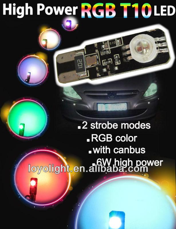 6W RGB/Multi Color/Color Changing T10/W5W/194 12v led car light