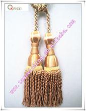 Modern double bullion tassel tiebacks for curtain, golden curtain tiebacks, curtain accessory