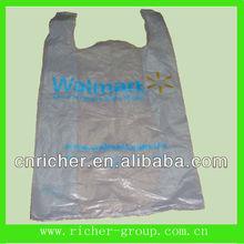 plastic Walmart supermarket t-shirit bag with durable handle