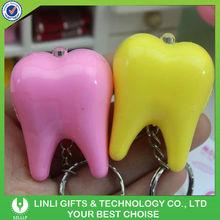 Tooth shaped led plastic key chain