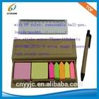 Desk set kraft paper box with sticky notes & pen & ruler post it 110 sheets