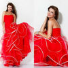 Sexy Strapless Long Ball Gown Floral Flouncing Tulle Red Party Dresses