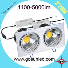 2*20W Square COB LED Downlight high output 4400-5000lm