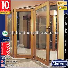 aluminium wood bi fold door for veranda