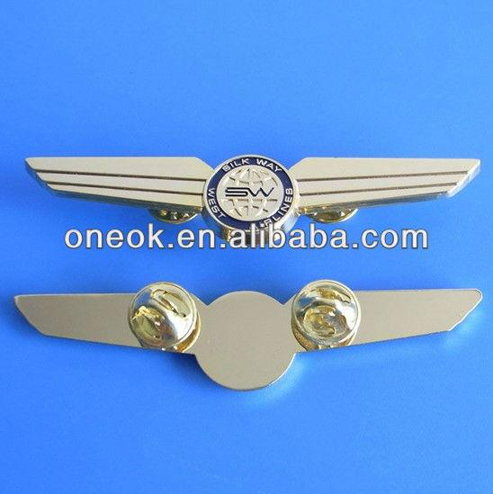 custom metal 3D logo pilot wing pin badges for uniform