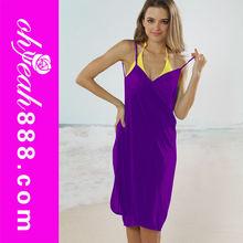 Open-back wrap front beach dress sexy women swimwear