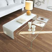 Modern hot bending glass long coffee table