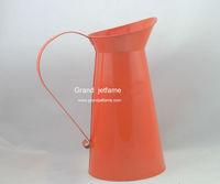 garden orange round metal water flower Jug with handle