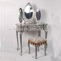 Lh-vs0020 antigo vaidade penteadeira com espelho e fezes conjunto de 3