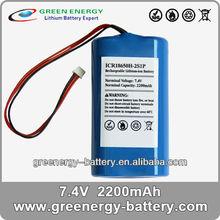 7.4v 18650 li-ion rechargeable battery packs ICR18650H-2S1P 2200mah